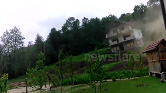 HOUSE COLLAPSES IN LANDSLIDE IN BOSNIA