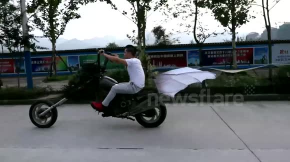 Man Rides Self-designed Ghoulish Flying Motorcycle