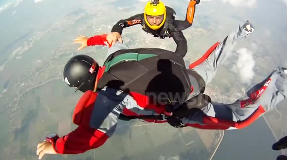 Skydiver spins out of control during jump