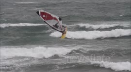 Windsurfing in a Cornish Storm