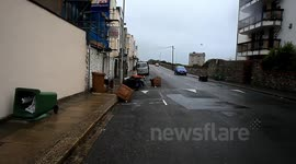 high winds hit plymouth devon, ships struggle to get in port