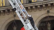Topless Femen Leader Climbs down ladder into Extreme Right rally in Paris, Police Attacked by Demonstrators