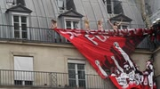 Femen Crash Far Right Rally in Paris: Zoom Shots Femen in tug of war with firemen