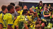 Sweden's U21s arrive home to a hero's welcome