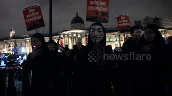 Orwellian Police Projection at Anonymous Million Mask March London