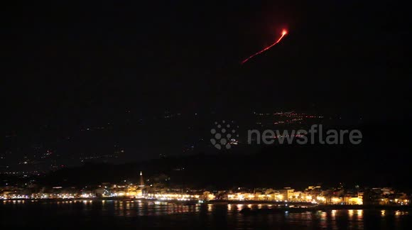 Etna eruption by Capo Taormina