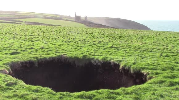Mineshaft sinkhole in Cornwall