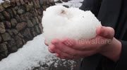 Hail storm hits St Ives in Cornwall, UK