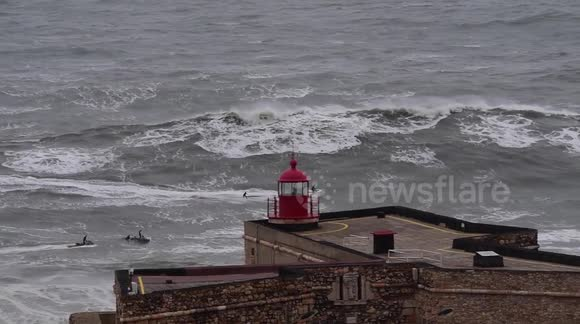 Storm, Giant Waves and Surf in Nazaré, Exclusive Raw Footage 2016-02-09