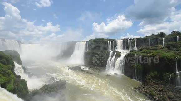 Stunning scene of gushing Iguazu falls in Brazil