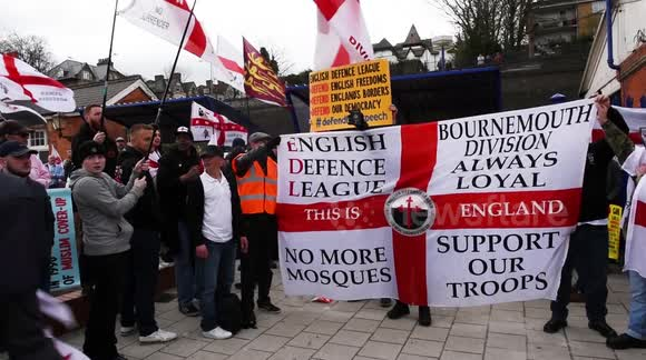English Defence League (EDL) demonstration & counter-protest in High Wycombe