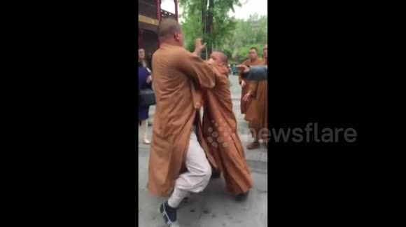 Three monks caught fighting at temple