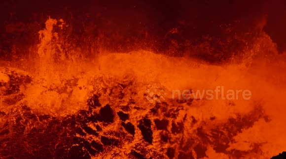 Impressive footage of a churning lava lake