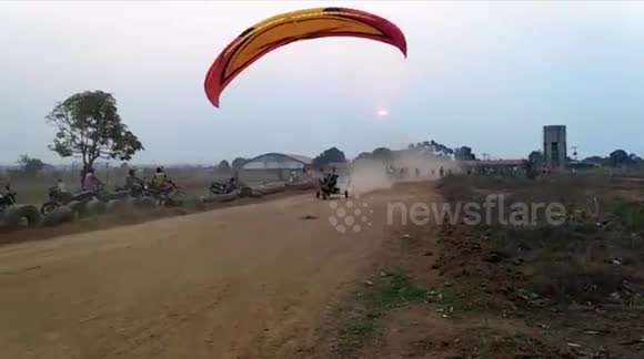 Dramatic footage of a motorised paraglider take-off going very wrong