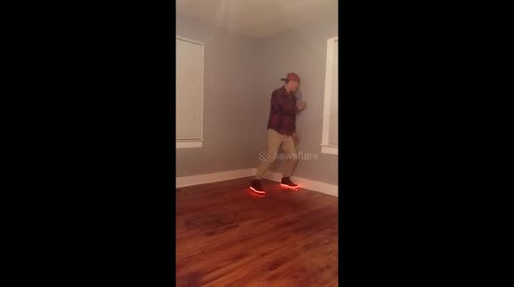 Dancer bumps hole in wall when the 'beat drops'
