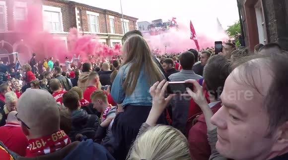 Shocking moment 'rocket launched at Liverpool fans'