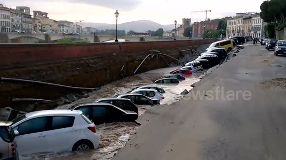 20 cars plunged into ditch after embankment collapse in Florence, Italy