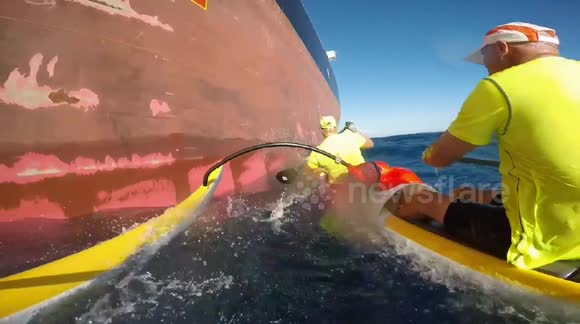 Outrigger canoe 'crashes' into oil tanker at sea