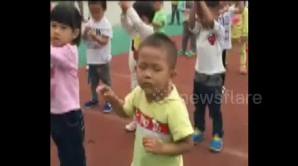 Boy nods off during exercise at school