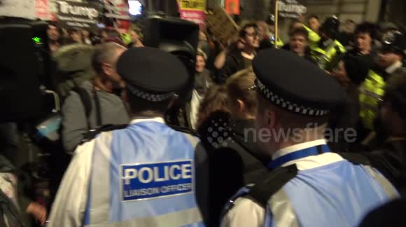 Police attempt to shut down anti-Trump protest in London