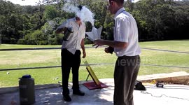 Newsflare - Giant liquid nitrogen bottle rocket 'fail'