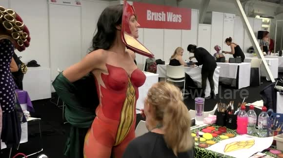 Newsflare Couture Body Painting Competition At The Olympia Beauty Show