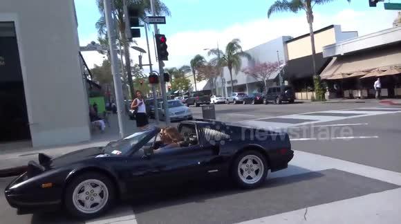 Newsflare   Heidi Klum Shows Off Her Very Flash Classic Convertible Ferrari  In Beverly Hills