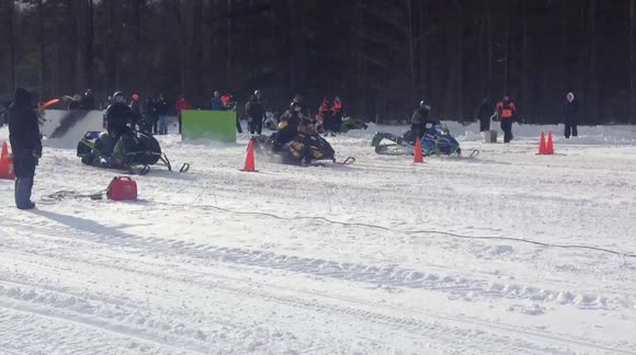 Newsflare - Snowmobile Drag Race in Empire, Northern
