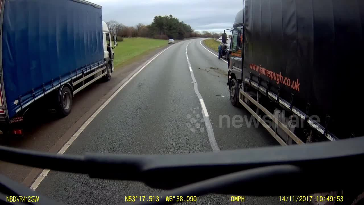 Newsflare - Driver pulls out of lay-by in front of truck