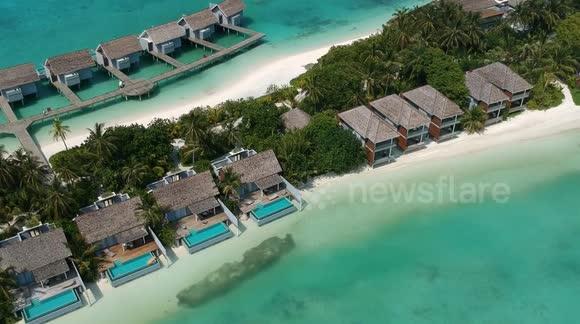 Newsflare Drone Footage Maldives Water Villa Kuramathi