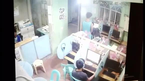 Internet cafe kissing