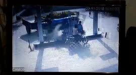 Newsflare - Horrifying moment motorbike catches fire at