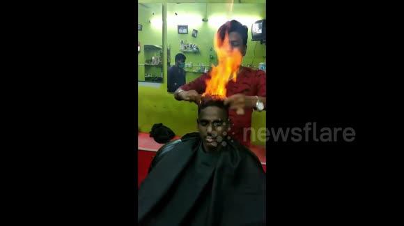 Newsflare - Drop the scissors! Indian barber trims