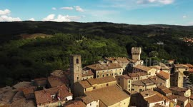 Newsflare aerial little medieval town in tuscany san casciano