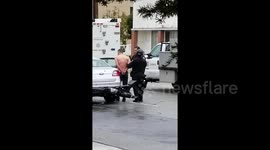 Newsflare - Exclusive footage shows moment man barricaded at