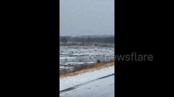 Newsflare - Nebraska bridge washes away in severe flooding