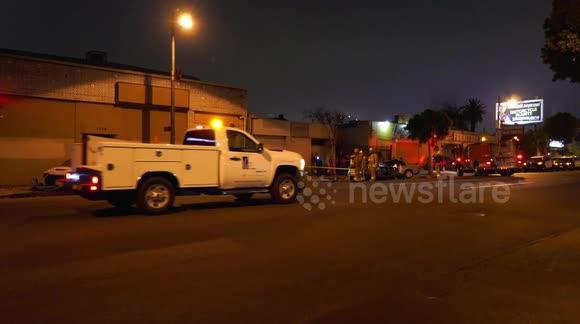 Newsflare - Three Car Crash Ruptures Gas Line