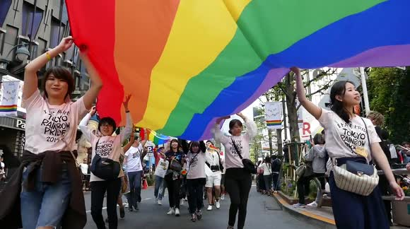 673679763f7 LGBT supporters march for Tokyo s 25th pride festival