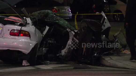 Newsflare - Fatal single car accident in Los Angeles leaves