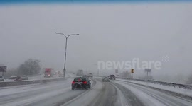 Newsflare - Hailstorm covers Colorado highway