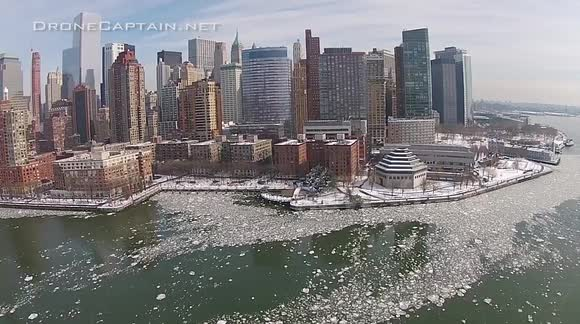 Aerial footage of ice on the Hudson River, New York