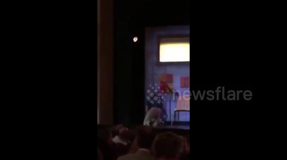 Man jumps onto Broadway stage to charge phone
