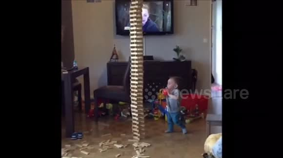 toy tower crashed on Baby