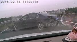 Newsflare - Dash-cam captures incredible cement mixer crash