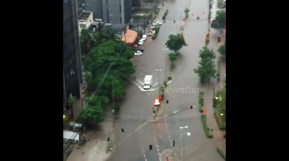 Heavy rains cause floods in Sao Paulo, Brazil