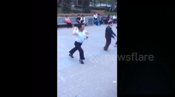 Dance obsessive shows off his ridiculous moves on the street