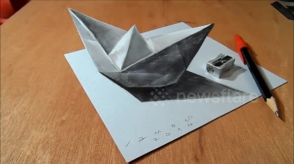 Newsflare - How I Draw a 3D Paper Ship, Optical Illusion by