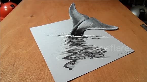 Newsflare How I Draw a 3D Blue Whale Optical Illusion