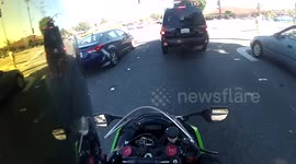 Newsflare - Helmet saves motorcyclist's life after he is hit