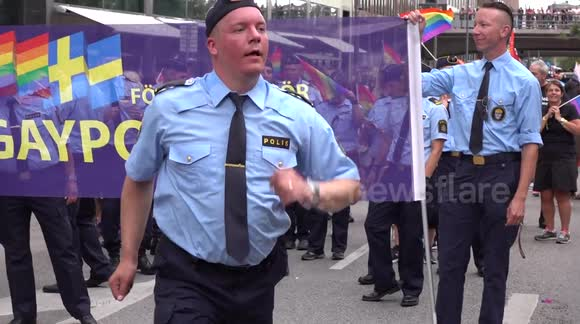 GAY POLICE OFFICER DANCING IN PRIDE